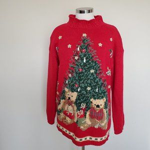 Tiara Petites Medium PM MP Christmas Sweater Bears